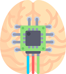 Brain and chip illustration